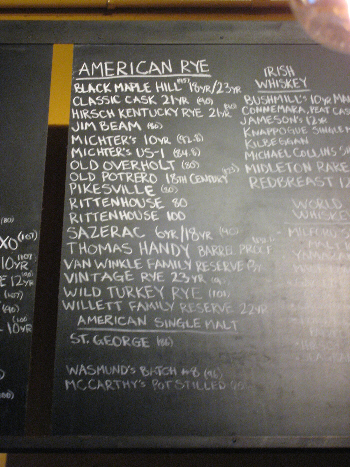 Rye list at Alembic