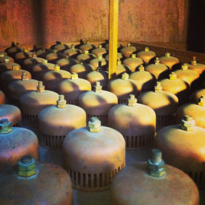 bubble caps on a column plate at Four Roses Distillery